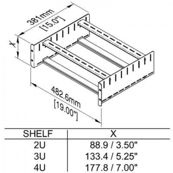 "Penn Elcom 2U Clamping Rack Shelf 500mm//19.69/"" Deep"
